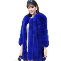 Faída femenina S-4XL Winter Winter Luxury Coat Slim Long Pink Rojo Azul Chaqueta Mujeres Fake Abrigos Manteau Fourrure WJ1231W