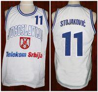 af2619a1b1e9 Predrag Peja Stojakovic  11 Team Jugoslavija Yugoslavia Serbia White Retro  Basketball Jerseys Mens Stitched Custom Any Number Name