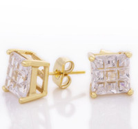 Hot saling copper zircon gold plated earrings full of Star h...