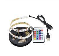 IP20 Не водонепроницаемый DC 5V 5050SMD RGB USB Светодиодная лента Лента настольная декоративная лента USB Светодиодная подсветка лампы с пультом RGB