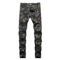 Сморшеная стройная середина талии мужчины джинсы армии зеленые карманы мужские прямые джинсы с молнией мода мужская одежда