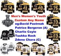 S-6XL Stanley Cup Flnal 2019 Boston Bruins Jerseys Pastrnak Jersey Bergeron Coyle Tuukka Rask Zdeno Chara Hockey camisas personalizadas costurado