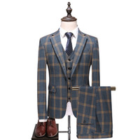Costume masculin costume en trois pièces (manteau + pantalon + gilet) printemps et automne nouveau homme d'affaires carrefour tenue décontractée masculin paillon robe de qualité