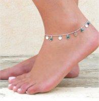Золотая серебряная цепь бирюзовый браслет наслоение синей бирюзовый богемный браслет для женщин женские девушки сексуальные анкелеты