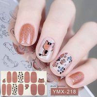 Lamemoria 14 Советов Полного Обертывания Лак для ногтей наклейка Cute Animals шаблон самоклеящейся Nail Art Табличка Полоски Маникюр Оптового