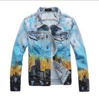 Neue Ankunfts-Herren Designer Jeansjacke Hip Hop Bule Holes Jacke beiläufige Herbst-Winter-Junge populären Mens Denim Mantel Top-Qualität Größe M-4XL