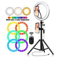 """10 """"RGB Video Camera Светодиодный настольный стенд с 26 см RGB Multi-Colors LED кольцевой свет 2700K-6500K плюс RGB для прямой трансляции"""