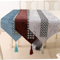 Luxurious velvet table runners with button decoration 32X200...