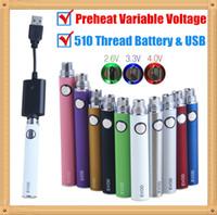 5 Pcs Pré-aqueça EVOD VV 510 Rosca Vape Pen Kits de Bateria Carregador USB 650 900 1100 mAh Tensão Variável Para O Cartucho de Óleo Grosso 100% Qualidade