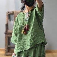 T-shirt das mulheres Johnature mulheres retalhos vintage camisetas cor sólida ramie 2021 verão o-pescoço meia manga solta fêmea
