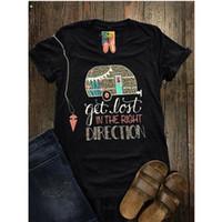 T-shirt à manches courtes col V pour femmes, plus la taille, perdez-vous dans la bonne direction T-shirt imprimé d'été décontracté pour femmes Tee Tops pour dames Tops livraison gratuite
