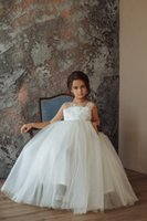 Cheap White Lace Flower Girl Dress Cute Appliqued Open Back ...