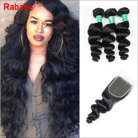 Rabake Loose Wave Brazilian Virgin Hair Weave Bundles With T...
