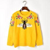 Yeni Yün Kış Kadın Kazak Arı Çiçek Nakış Lüks Sarı Örme Kazak Vintage Sıcak Jumper Kazak