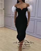 Sexy Black Feather Cheap Cocktail Party Dresses 2019 Off Sho...