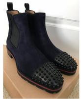 التمهيد الكاحل الأزياء روك أحذية مع مسنبل الأزرار الأسود حقيقية جلد أحمر أسفل أحذية الرجال الأحمر الوحيد البطيخ المسامير شقة السامي الأعلى أحذية