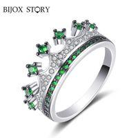 Bijlox Story Classic Crown Shaped Emerald Gemstone Ring 925 Sterling Zilveren fijne sieraden ringen voor vrouwelijke bruiloft belofte partij
