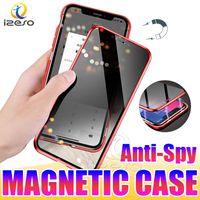 Casos de telefone magnético para iPhone 12 pro máximo 11 xs 8 7 mais cobertura completa Privacidade anti-espião tampa de vidro temperado caso izeso