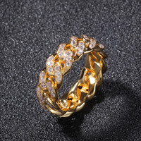 Iced Out Cubic Zircon Cuban Circle Ring For Men Silver Gold ...