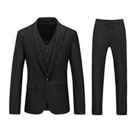 Herren 3 Stück Anzüge One Button Blazer Tux Weste Hosen Business Hochzeit Kleid Für Ehe Bräutigam Smoking Maßgeschneiderte Für Anzug