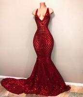 Sexy V-Neck Mermaid Sparkly Lantejoulas Vermelhas Preto Menina Prom Vestidos 2019 Elegantes Mulheres Africanas Longas Formal Vestido Formal Vestidos De Partido Noite