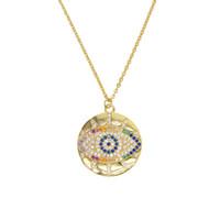 Boho 2019 trendy ouro clássico turkish evil eye pingente de colar para a menina pavimentada minúsculo arco-íris lindo CZ chic mulheres presentes da jóia