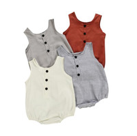 INS الصيف الوليد طفلة بوي الملابس Cottonlinen رومبير BODYSUIT تتسابق مجموعة مصمم الاطفال ملابس الأولاد بلا أكمام BY1185 ملابس الاطفال