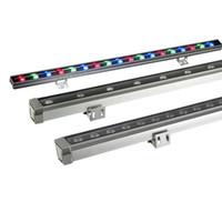 6pcs / lot 12W 15W 18W 24W 36W 48W 옥외 LED 벽 세탁기 조경 빛 AC85V-265V Dmx512 RGB 벽 선형 램프 투광 램프