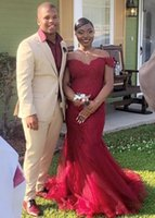Burgundy Tulle Off Shoulder Lace Mermaid Prom Dresses With Appliques Sweep Train Short Sleeves Formal Evening Party Gowns