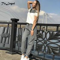 treino de ToLugui mola mulheres curto pulôver de algodão de manga camisola de duas peças set moda costura Sporting terno feminino