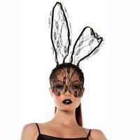 Conejito cordón de las mujeres máscara diadema accesorios velo de la máscara de la máscara del fiesta de Halloween de Navidad Apelación Uniforme Accesorios JK1909PH