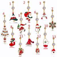 DS8 New Christmas Belly Button Anillo Piercing Rojo Mujer Cuerpo Piercing Joyería Rhinestones Árbol Nave Bar 14G Acero inoxidable