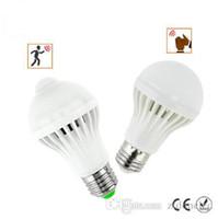 LED PIR capteur de mouvement Ampoule 5W / 7W E27 + Ampoule Led Son capteur 5W / 7W Smart Auto Body ampoule lampe lumière infrarouge AC85-265V