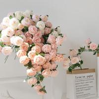 Красивая роза пион искусственные шелковые цветы маленький бутон свадьба для украшения дома Длинные поддельные на открытом воздухе