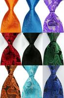 남성 실크 플로랄 페이 즐 리 넥타이 그린 레드 블루 자카드 파티 결혼식 짠 패션 디자인 GZ7271215