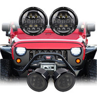 Par 105W 7 pulgadas Daymaker LED redondo DRL Faro Con 2pcs humo señal de vuelta de la luz ámbar para Jeep Wrangler JK JKU 2007-2018