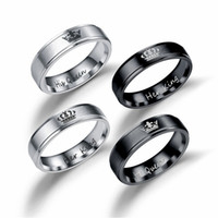 Ее король царя королева кольца кольца библо из нержавеющей стали пару кольцо для женщин мужчин любовники свадебные украшения подарок