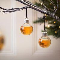 1/6 حزمة خمر شغل شجرة عيد الميلاد الحلي زجاجة ماء الحليب عصير المصابيح كأس زينة عيد الميلاد ديكور # 3n01