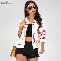 Gladiolus Coat Women V Neck 3 4 Sleeve Zipper Floral Print S...