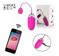 USB-Aufladungsmassagegerät Bluetooth Vibrator Wireless-Smartphone-App-Fernbedienung Vaginal-Vibrationseier Erwachsene Spielzeug Clit Egg Vibrador