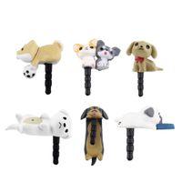 Niconico Nekomura universal de 3,5 mm linda del perro de perrito del polvo anti Toma de auriculares Tapa de cierre enchufe para teléfono del oído del muelle de accesorios al por mayor de 55