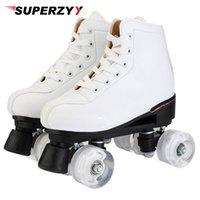 Inline Roller Skates Künstliche Leder Doppelzimmer Frauen Männer Erwachsene Zwei Skate Schuhe Patines mit weißen PU 4 Rädern Patin