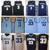 빈티지 조지 타운 Hoyas Allen Iverson # 3 대학 농구 유니폼 Patrick Ewing 33 Allen Iverson Green Bethel 고등학교 스티치 셔츠
