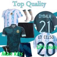 2020 2021 Männer Argentinien Soccer Sports Jersey 2019 Startseite Away Maria Aguero Higuain 19 20 21 21 Messi Dybala Jungen Erwachsene Kit Fußball-Hemd