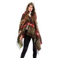 Manera- invierno manga del palo del color sólido de color caqui de Blue Coat nuevo de la manera floja dobladillo asimétrico Cabo abrigos Lolita Outwear Capa