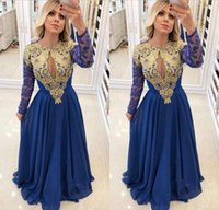 New Design Lace Prom Dresses Jewel Neck Gold Appliques Chiff...