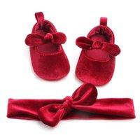 لطيف الوليد طفلة الذهب المخملية طفل الأولى حمالات كيد أحذية + أحذية Hairband الطفل فتاة عيد ميلاد الحزب