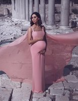 Said Mhamad Pink 2019 Sheath Prom Dresses with Watteau Train...