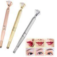 Manual de la ceja de la máquina de la pluma Microblading tatuaje para maquillaje permanente 3D labio de la ceja bordado Munsu Tebori Con cristal de diamante
