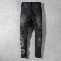 2019 spring new hole jeans male Europe and America high stre...